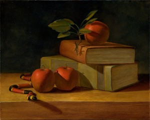 Snake-Apples-Books-Still-Life-Painting-2