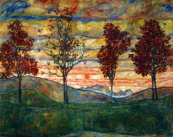 egon schiele four trees 1917